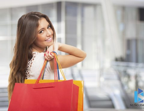 Beautiful woman carrying shopping bags